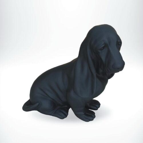 Basset hound seated resin figure