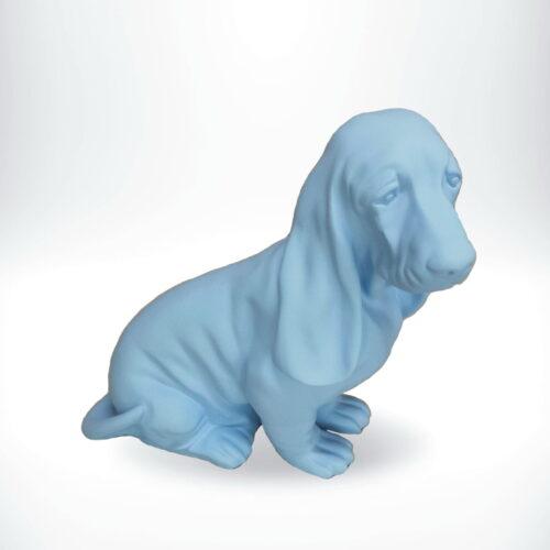 Basset hound seated resin figure blue