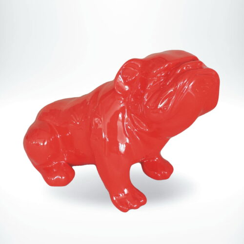 seated English bulldog red