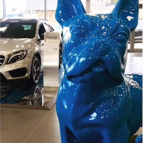 large blue bulldog figure