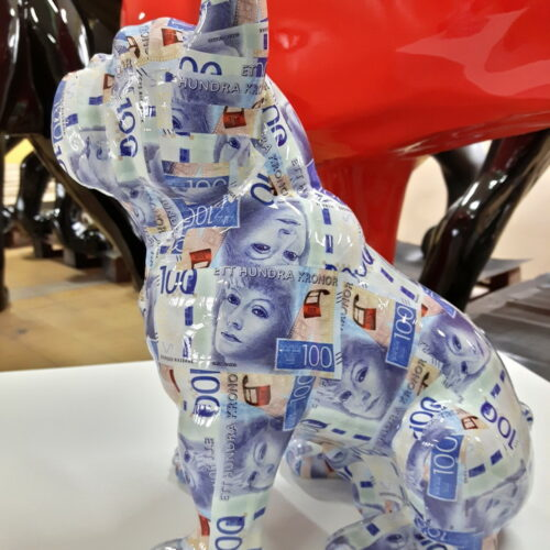 mały francuski buldog siedzący pop art waluta