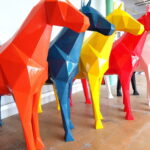 Fiberglass geometric horse large statue