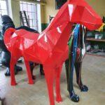 Fiberglass geometric red horse large statue