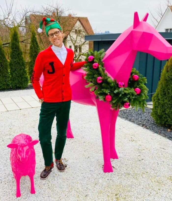 geometric horse statue pink