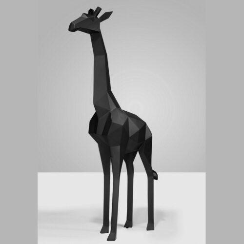 Geometric Giraffe Black Mat