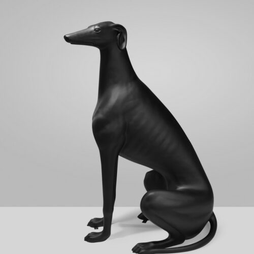 greyhound black mat statue (1)