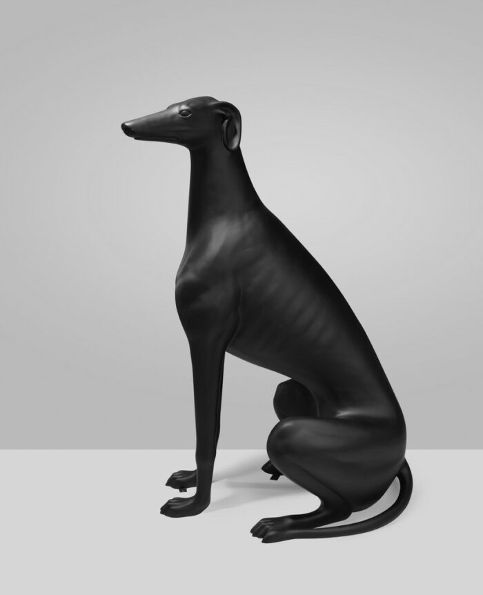 greyhound black mat statue (1)
