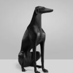 greyhound black mat statue  (2)